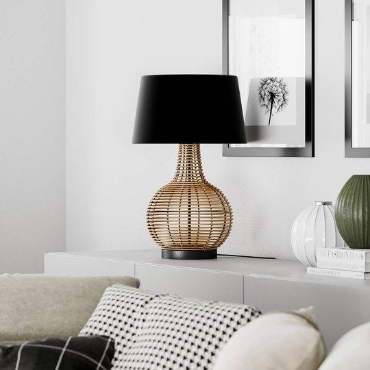 By Rydéns Granada bordlampe, spanskrør og stoff
