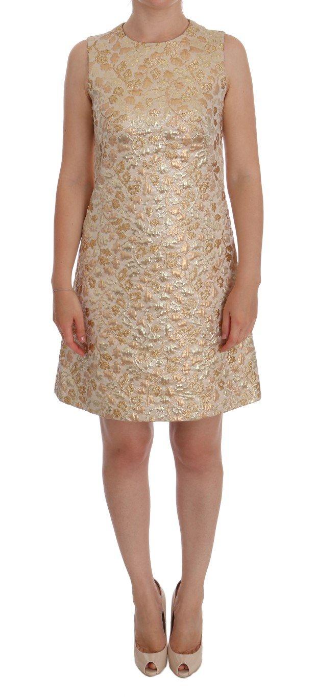 Dolce & Gabbana Women's Floral Jacquard Shift Dress Yellow DR1166 - IT40|S