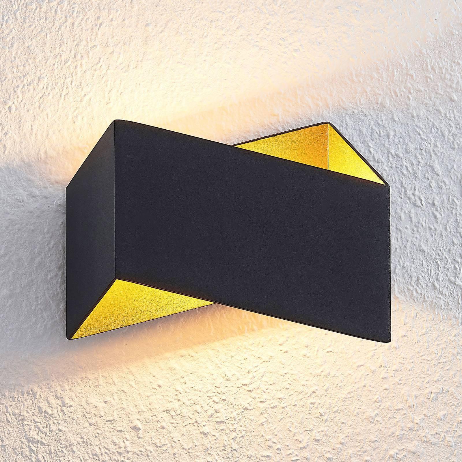 Arcchio Assona LED-vegglampe, svart-gull