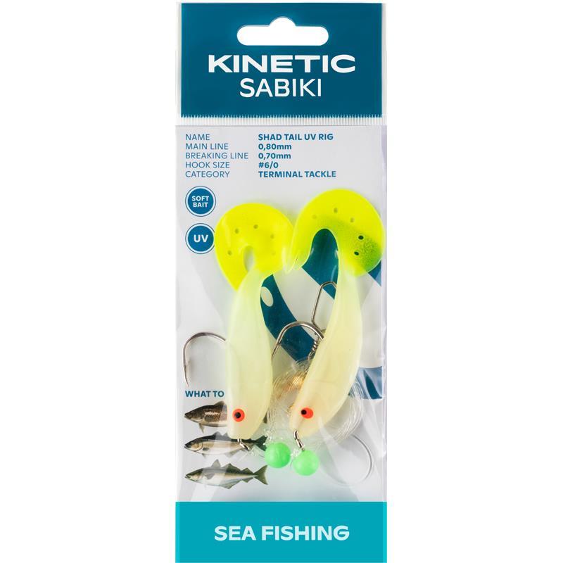 Kinetic Sabiki Shad Tail #6/0 Glow/Yellow