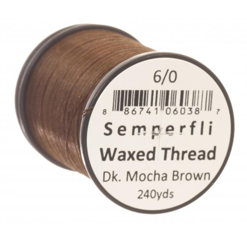 Semperfli Classic Waxed Thread Dk Mocha Brown 6/0