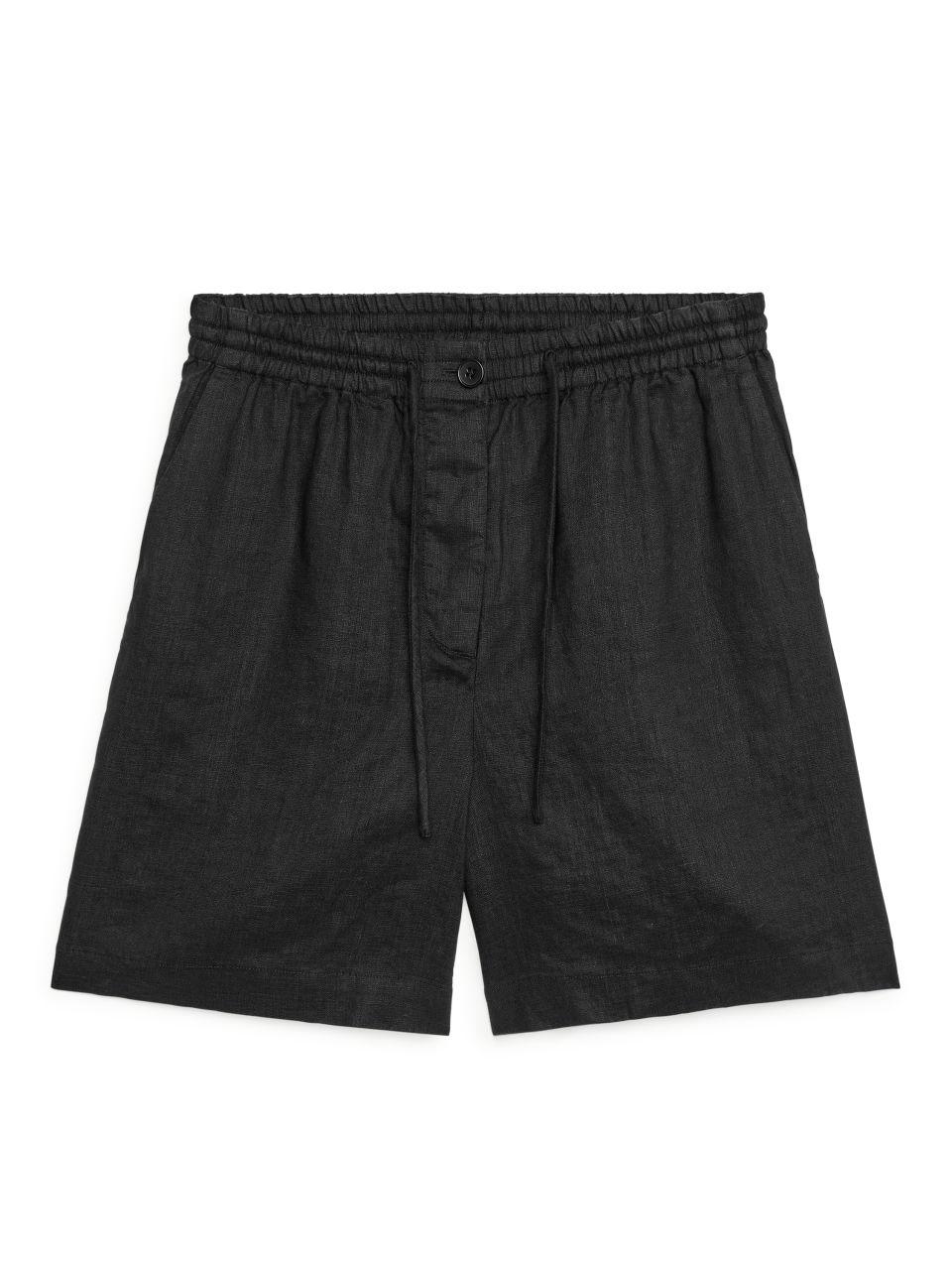Linen Drawstring Shorts - Black