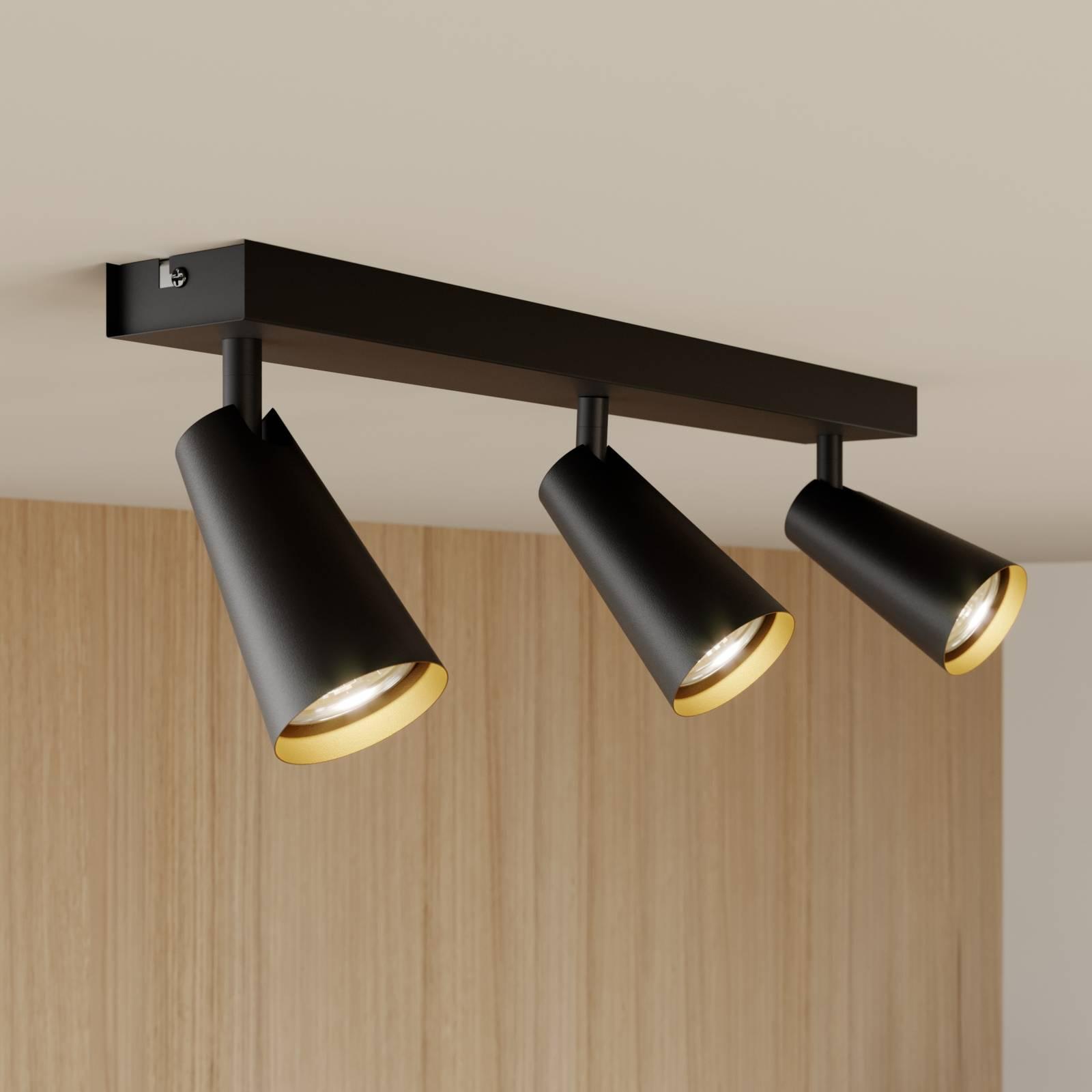 Lucande Angelina -kattovalo, musta-kulta, 3-lamp.
