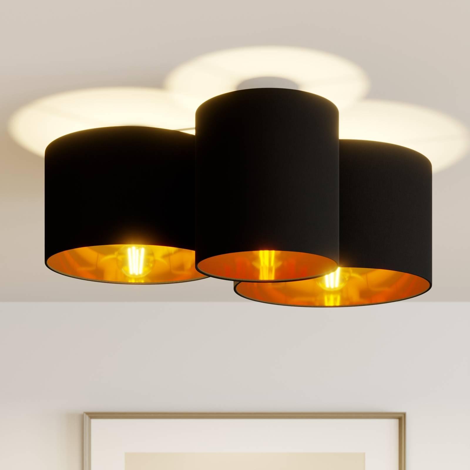 Lindby Laurenz -kattovalo, 3-lamp., musta-kulta