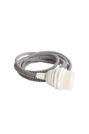 Kabel med sokkel E27 3 m - Svart/Hvit