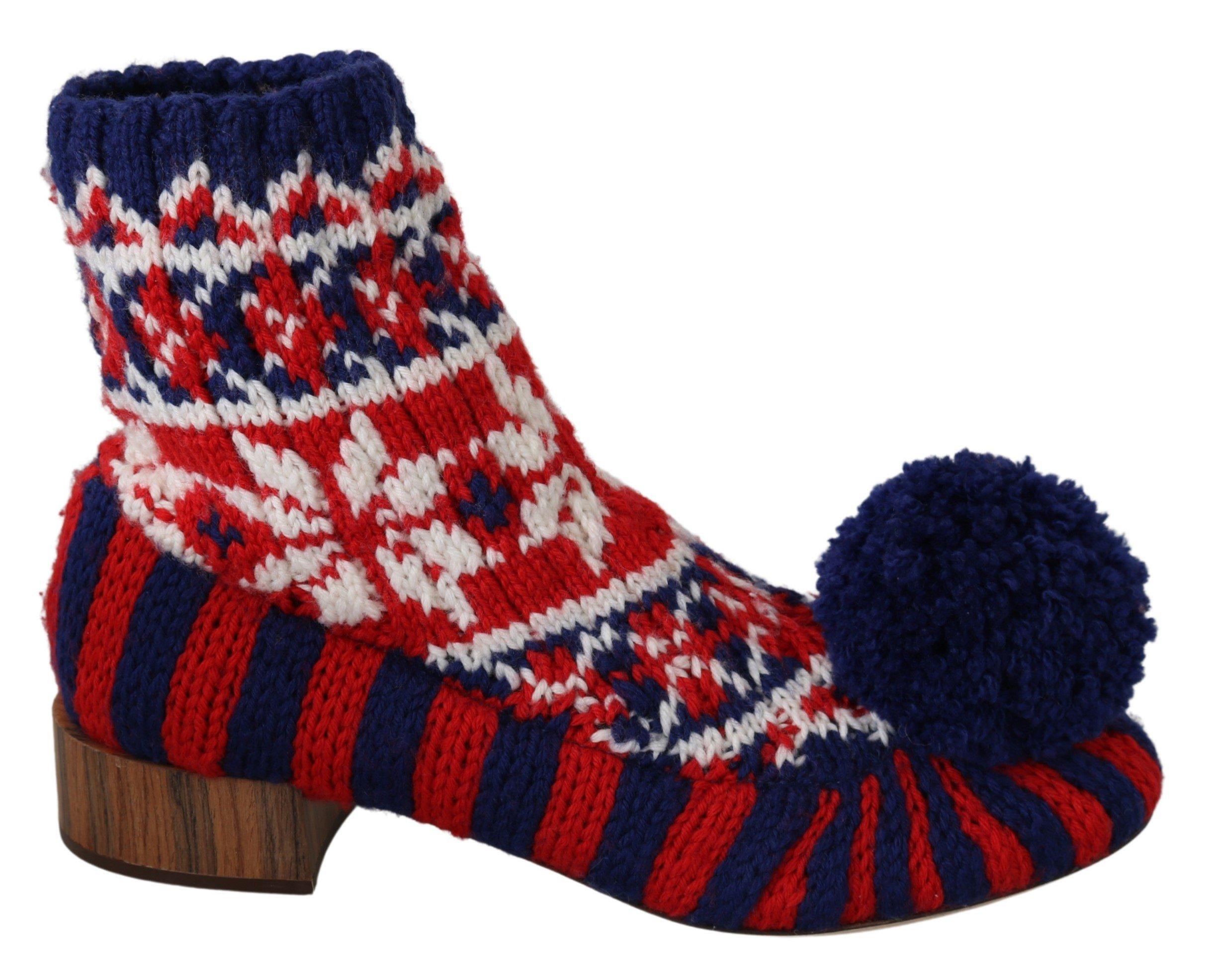 Dolce & Gabbana Women's Knitted Booties Boot Multicolor LA6891 - EU39/US8.5