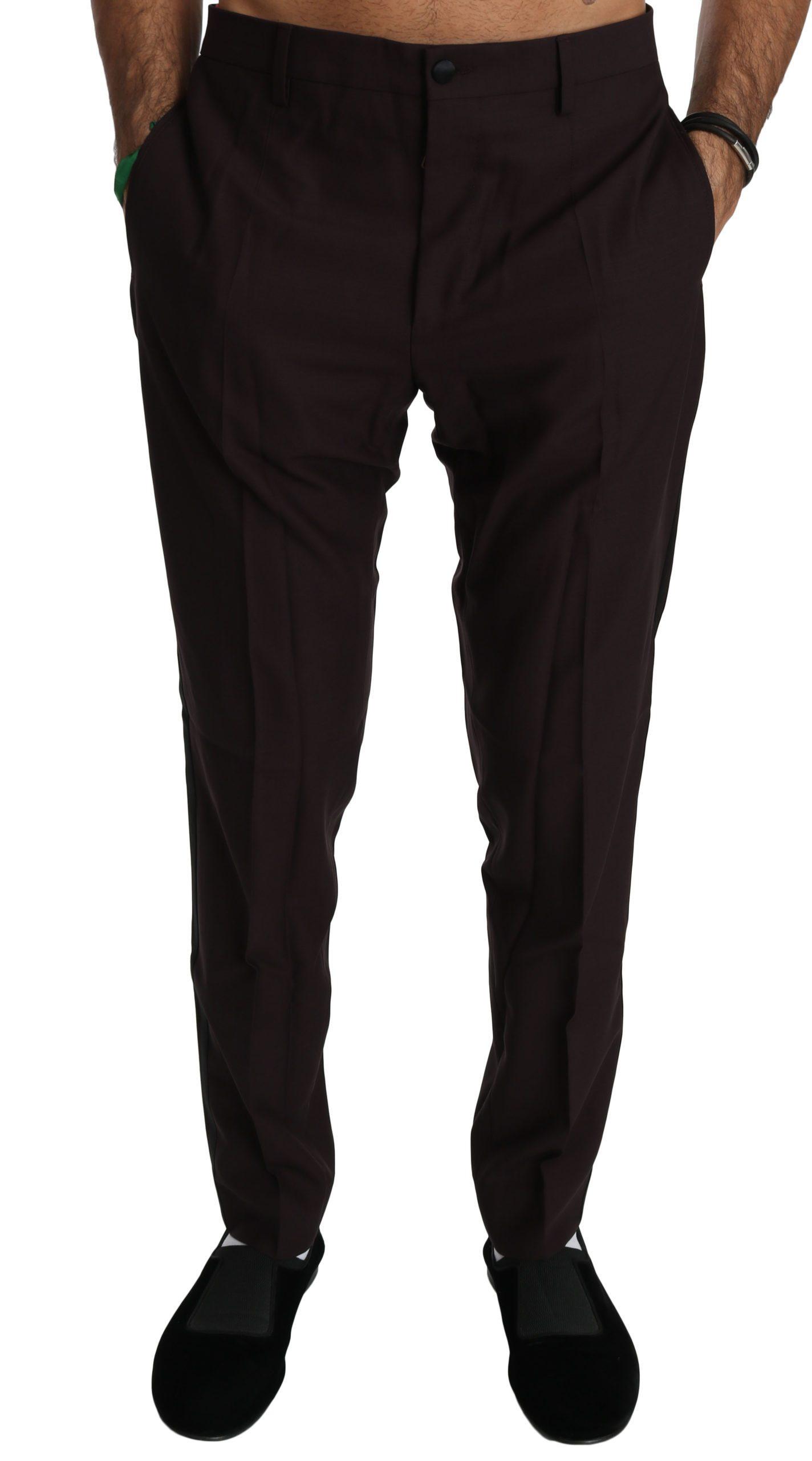 Dolce & Gabbana Men's Striped Cotton Dress Formal Trouser Brown PAN70764 - IT50 | L