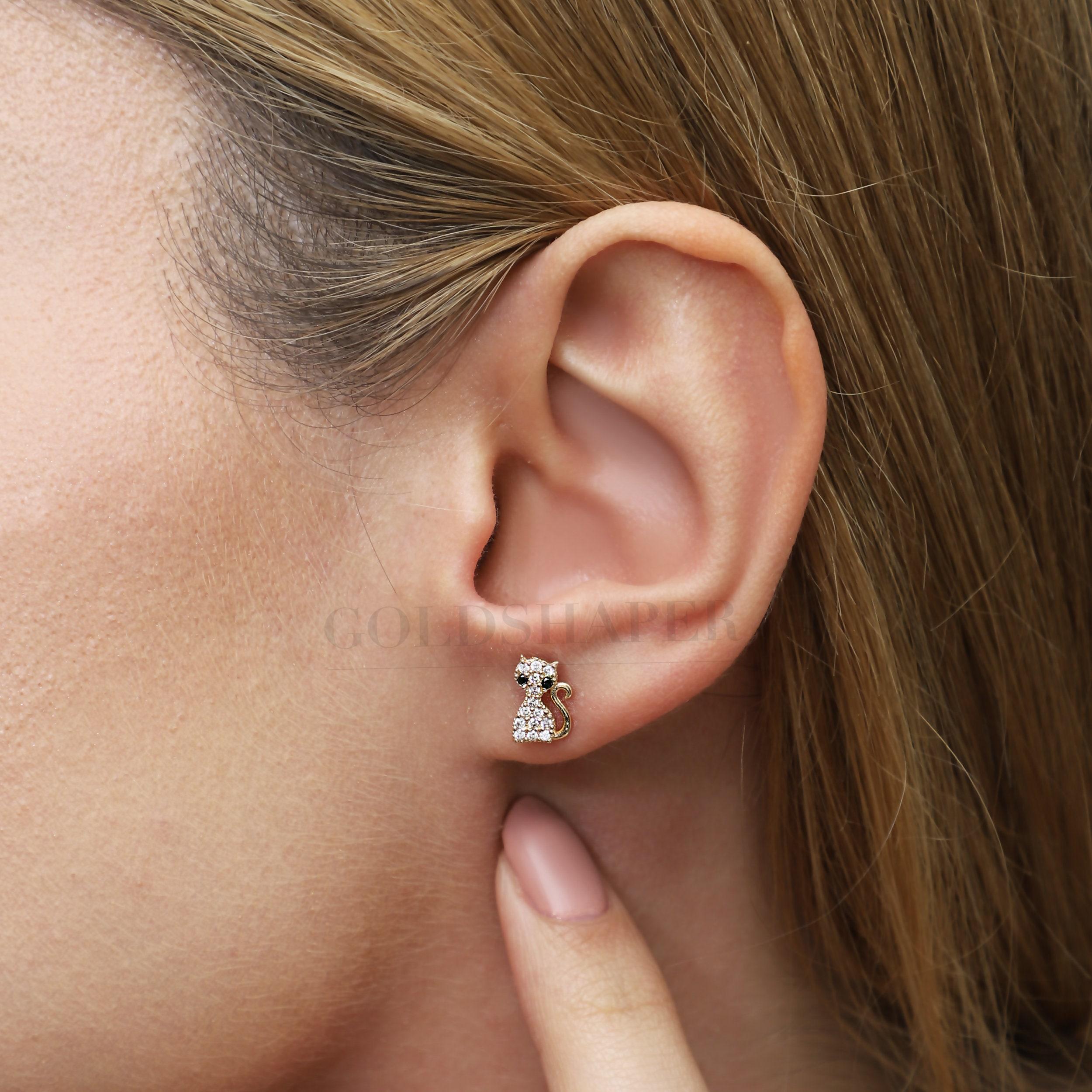 Tiny Cat Earrings, 14K Solid Gold Animal Valentine's Day Gift, Girlfriend Christmas Wedding Birthday Gift