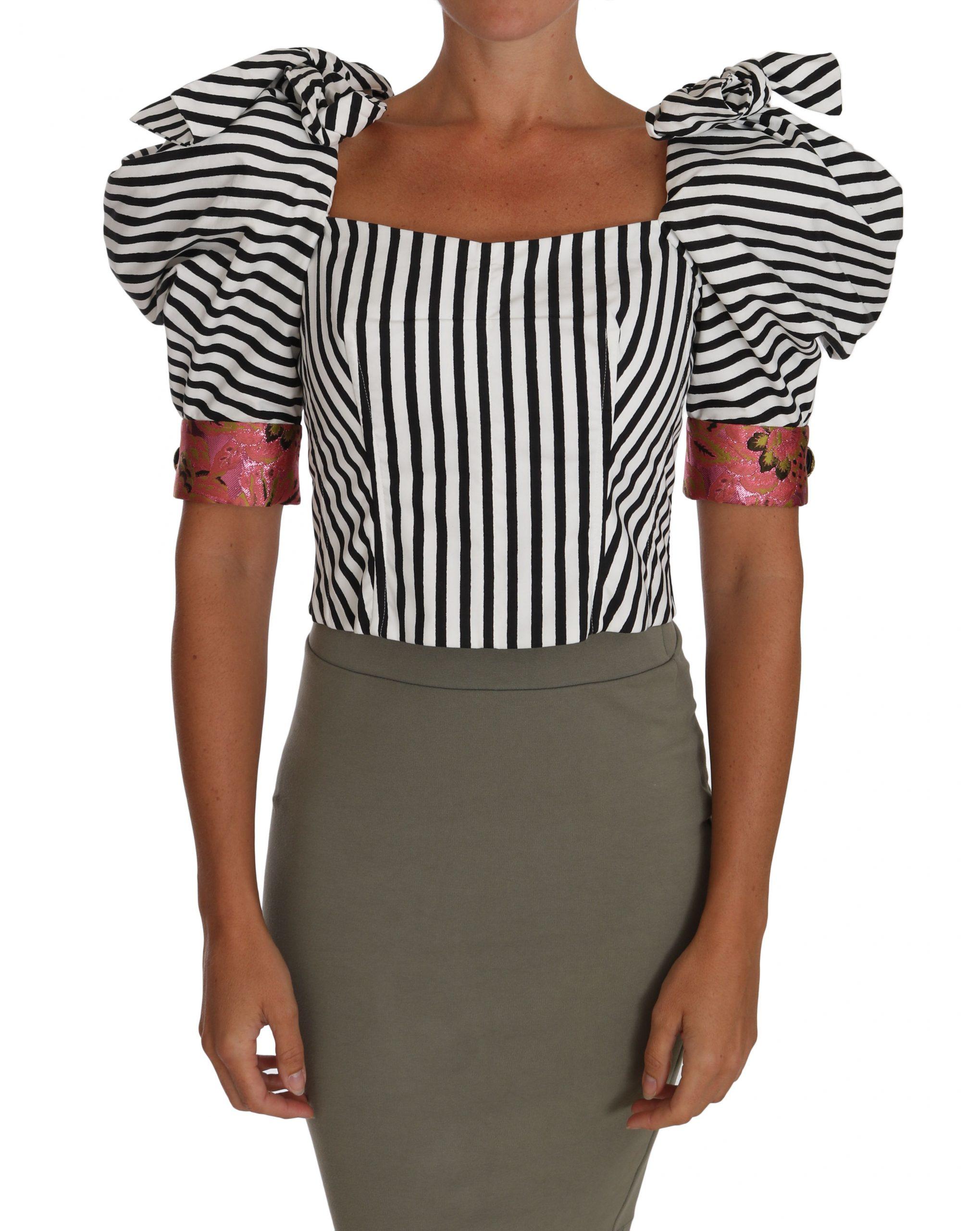 Dolce & Gabbana Women's Cropped Style Tops Black/White TSH2724 - IT38|XS