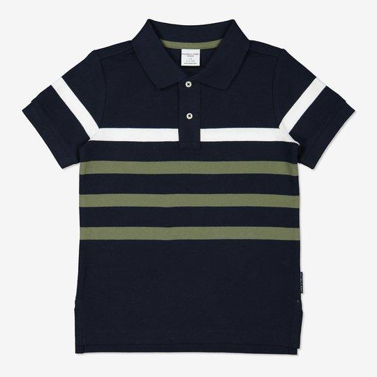 Stripet pikétrøye mørkblå