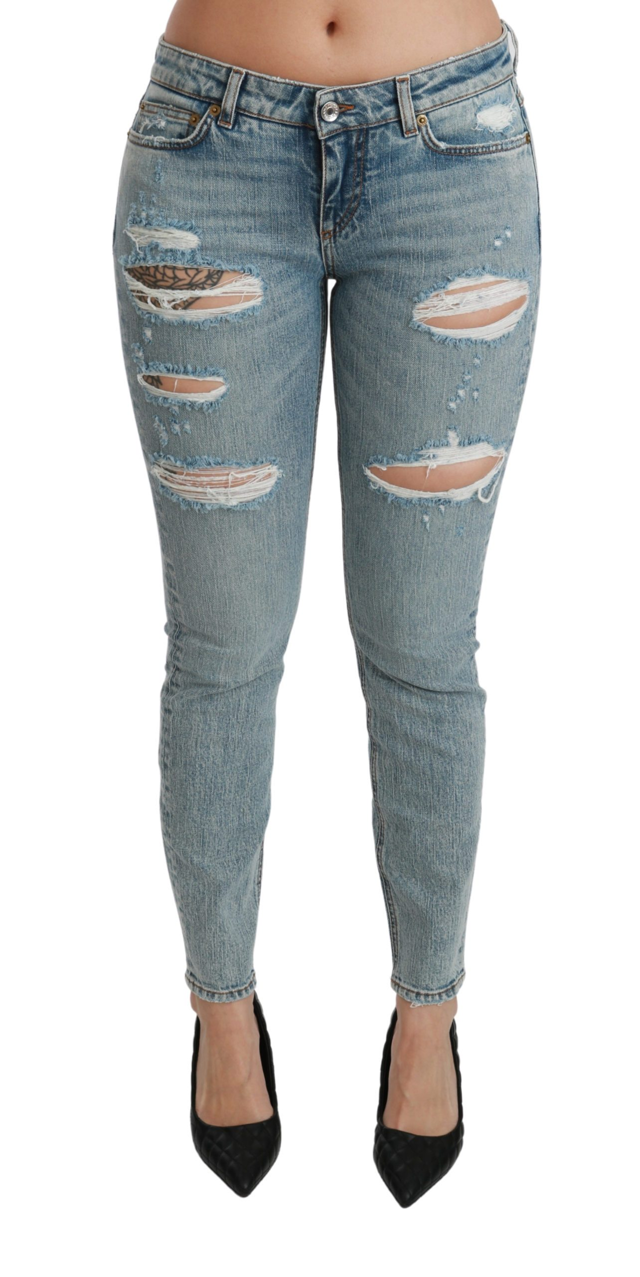 Dolce & Gabbana Women's Stretch Skinny Low Waist Cotton Jeans Blue PAN70889 - IT40|S
