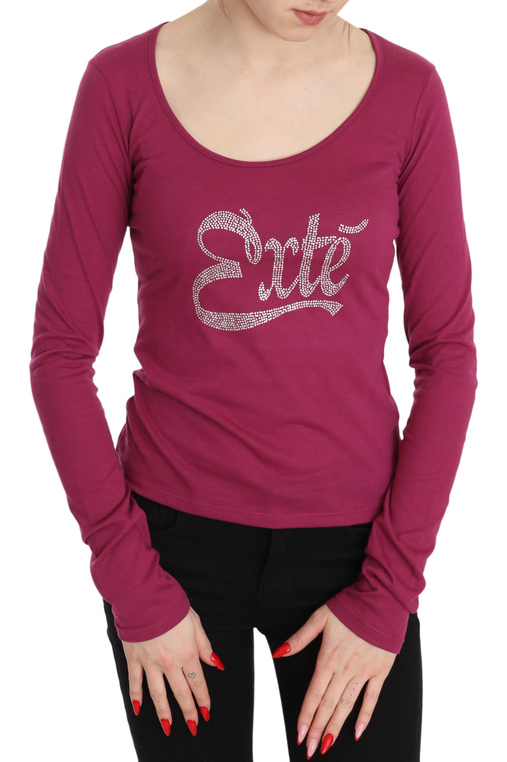 Exte Women's Exte Crystal Embellished LS Top Pink TSH3410 - IT40|S