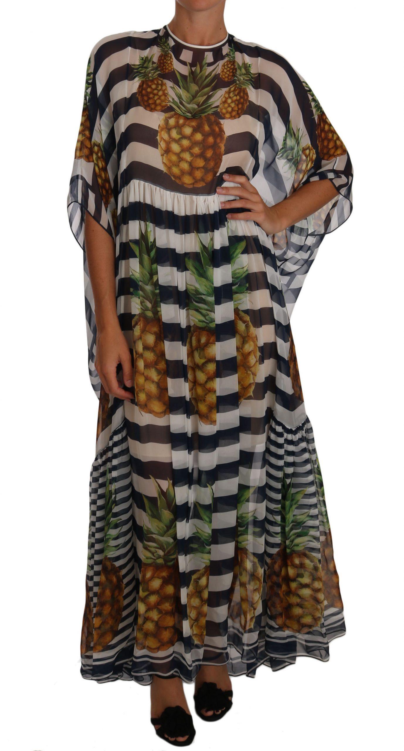 Dolce & Gabbana Women's Silk Striped Pineapple Tunic Dress Blue DR1472 - IT38|XS