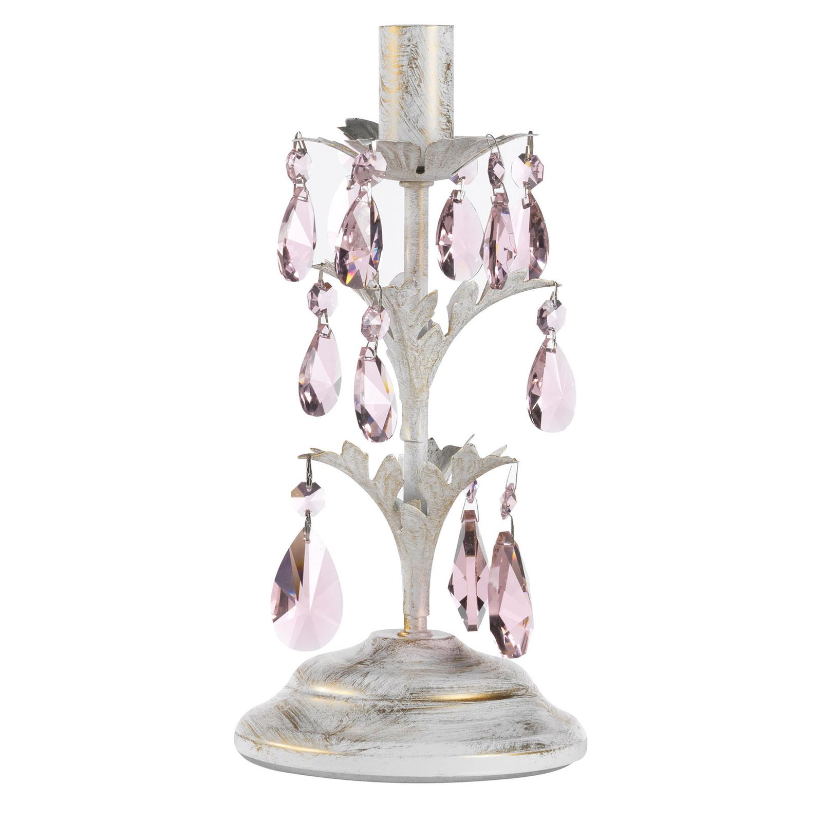 Pöytävalaisin Kate, valkoinen, roosat kristallit