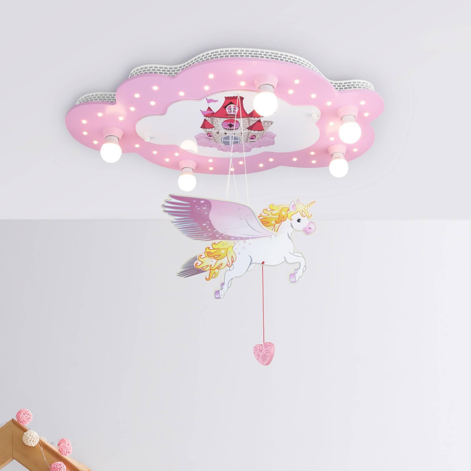 Slott barnetaklampe med enhjørning