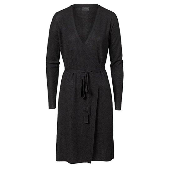 Omlottklänning Ull Svart Stl L - 68% rabatt