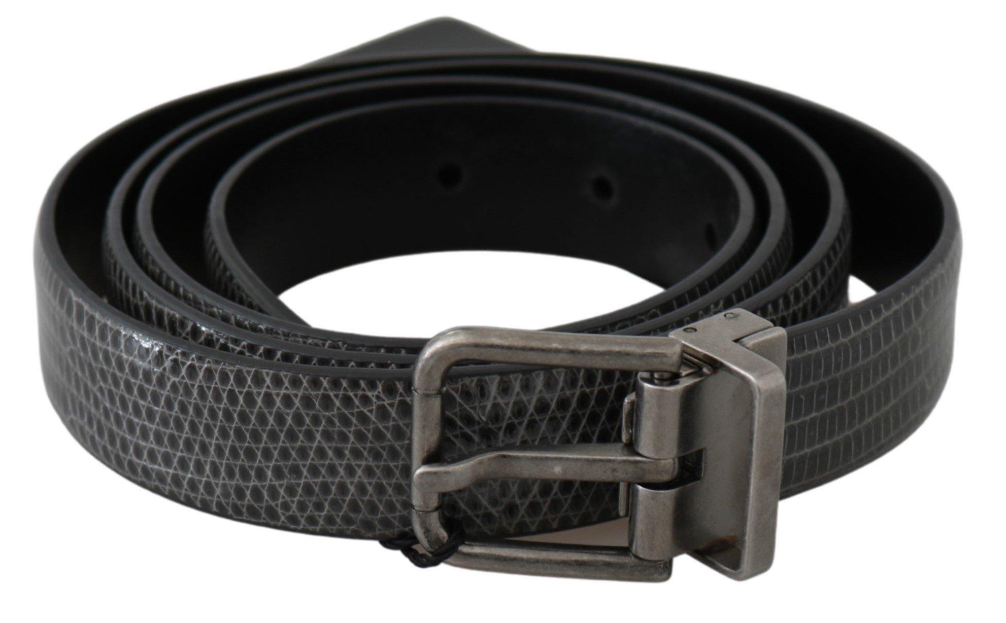 Dolce & Gabbana Men's Leather Exotic Skin Buckle Belt Grey BEL60631 - 100 cm / 40 Inches