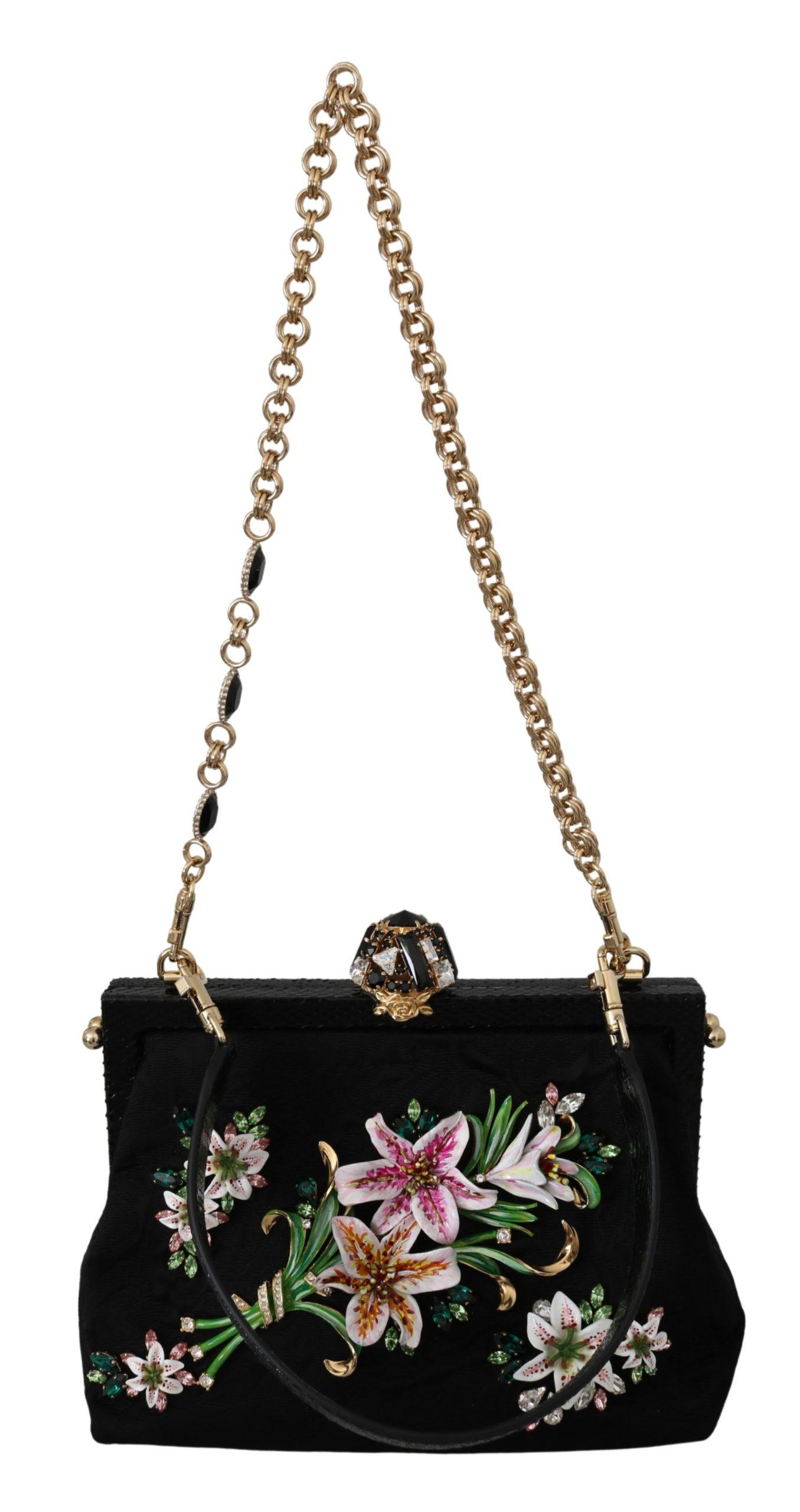 Dolce & Gabbana Women's Floral Crystal VANDA Shoulder Bag Black VAS9988