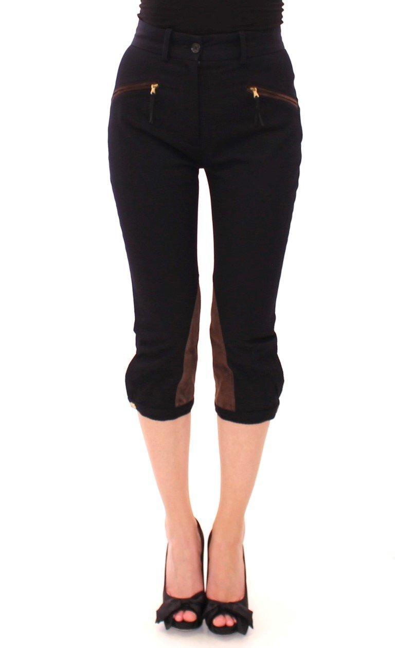 Dolce & Gabbana Women's Cotton Calfskin Straight Trouser Blue NOC10546 - IT38|XS
