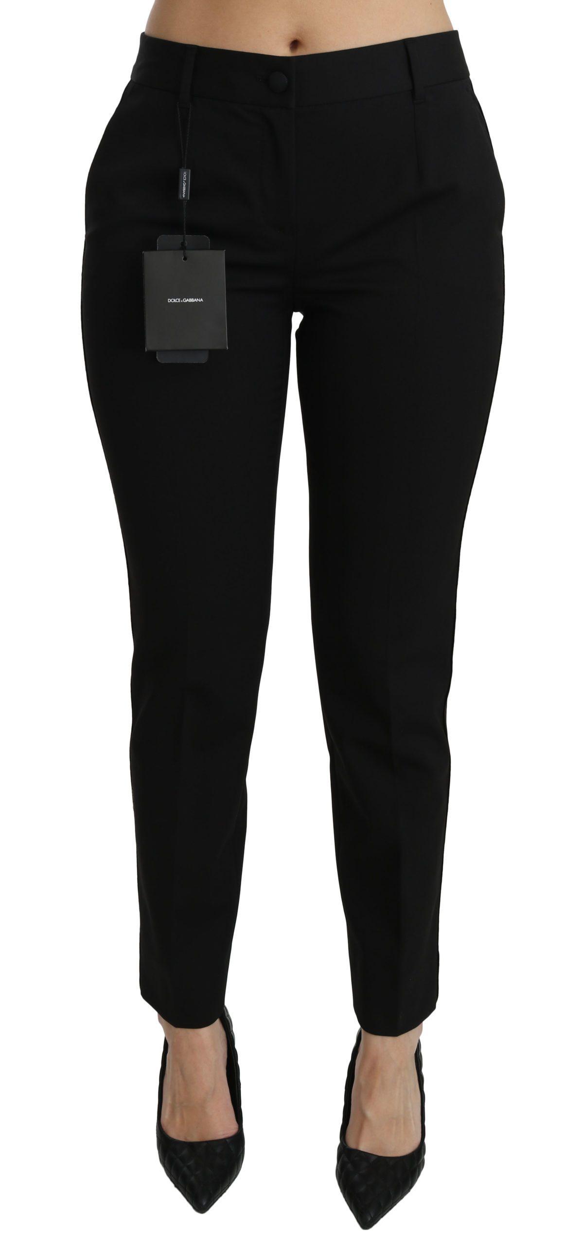 Dolce & Gabbana Women's Mid Waist Skinny Formal Trouser Black PAN70860 - IT40 S