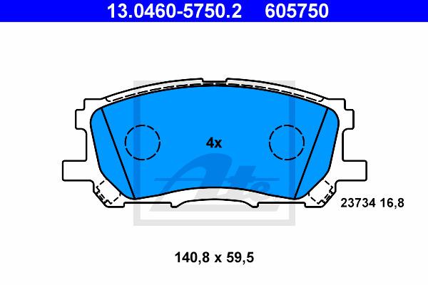 Jarrupalasarja, levyjarru ATE 13.0460-5750.2