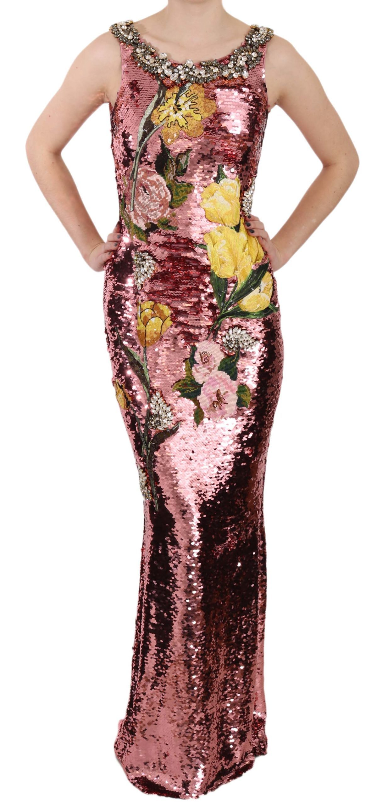 Dolce & Gabbana Women's Crystal Sequined Sheath Gown Dress Pink DR1677 - IT38|XS