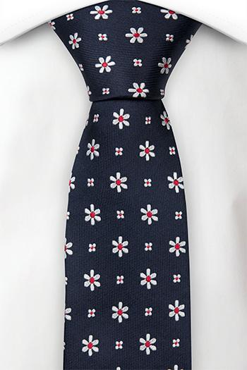 Silke Smale Slips, Marineblå kyper, små ryddige hvite & røde blomster