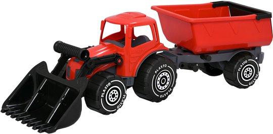 Plasto Traktor Med Frontlaster Og Tilhenger, Rød/Svart