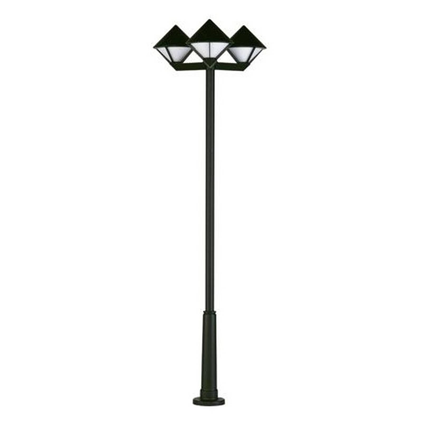 Moderni lyhtypylväs 181, musta, 3-lamppuinen