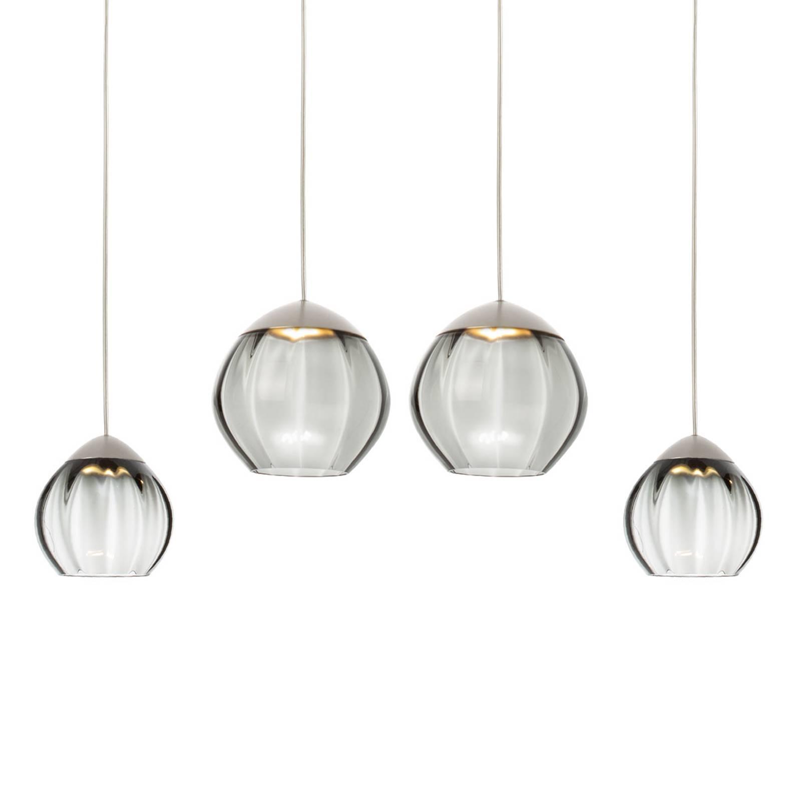 Nelilamppuinen LED-riippuvalaisin Soft, musta lasi