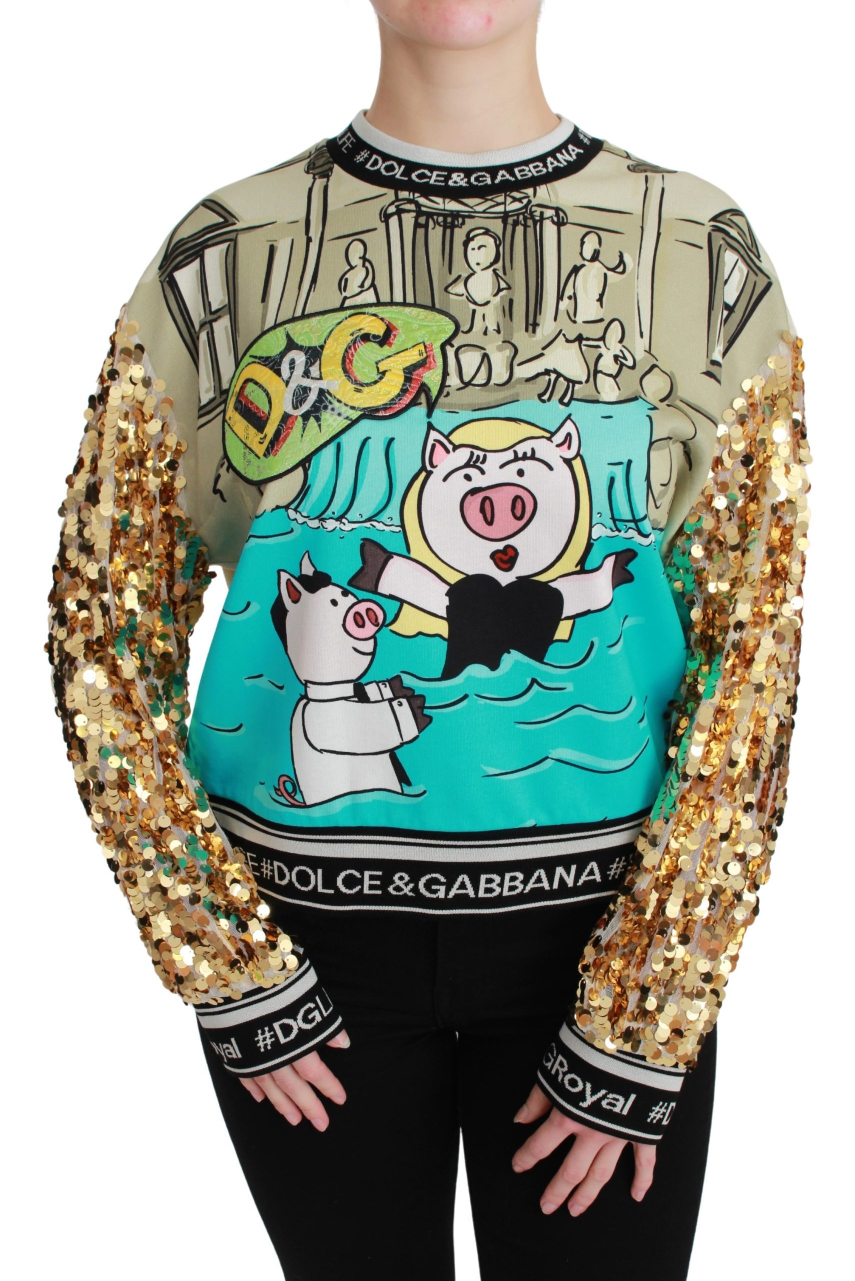 Dolce & Gabbana Women's Year of the Pig Sequined Sweater Multicolor TSH4667 - IT36   XS