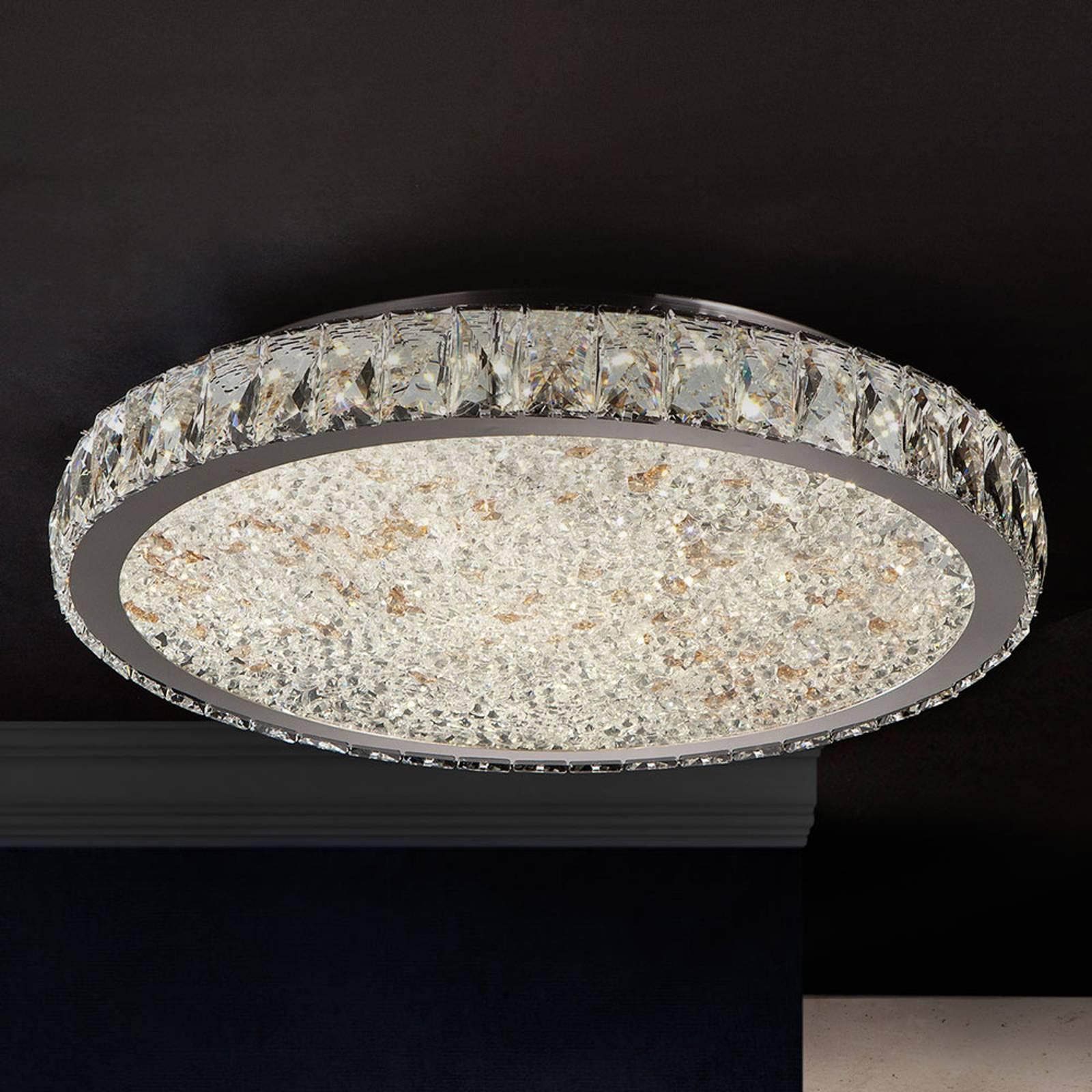 LED-kattovalaisin Dana, kristalleja, Ø 49 cm