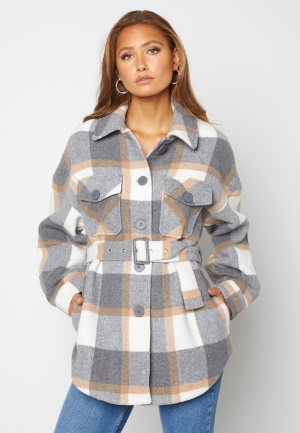 Pieces Selma Overshirt Jacket Whitecap Gray Checks XL