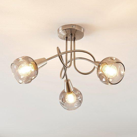 Lindby Almina -kattovalaisin, savulasi, 3-lamp.