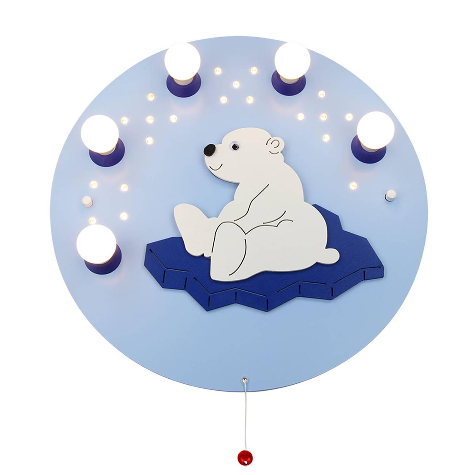 Seinälamppu Jääkarhu, vaaleansininen 5-lamppuinen