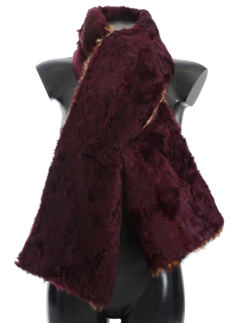 Dolce & Gabbana Women's Lamb Fur Leopard Print Scarf Purple MS822
