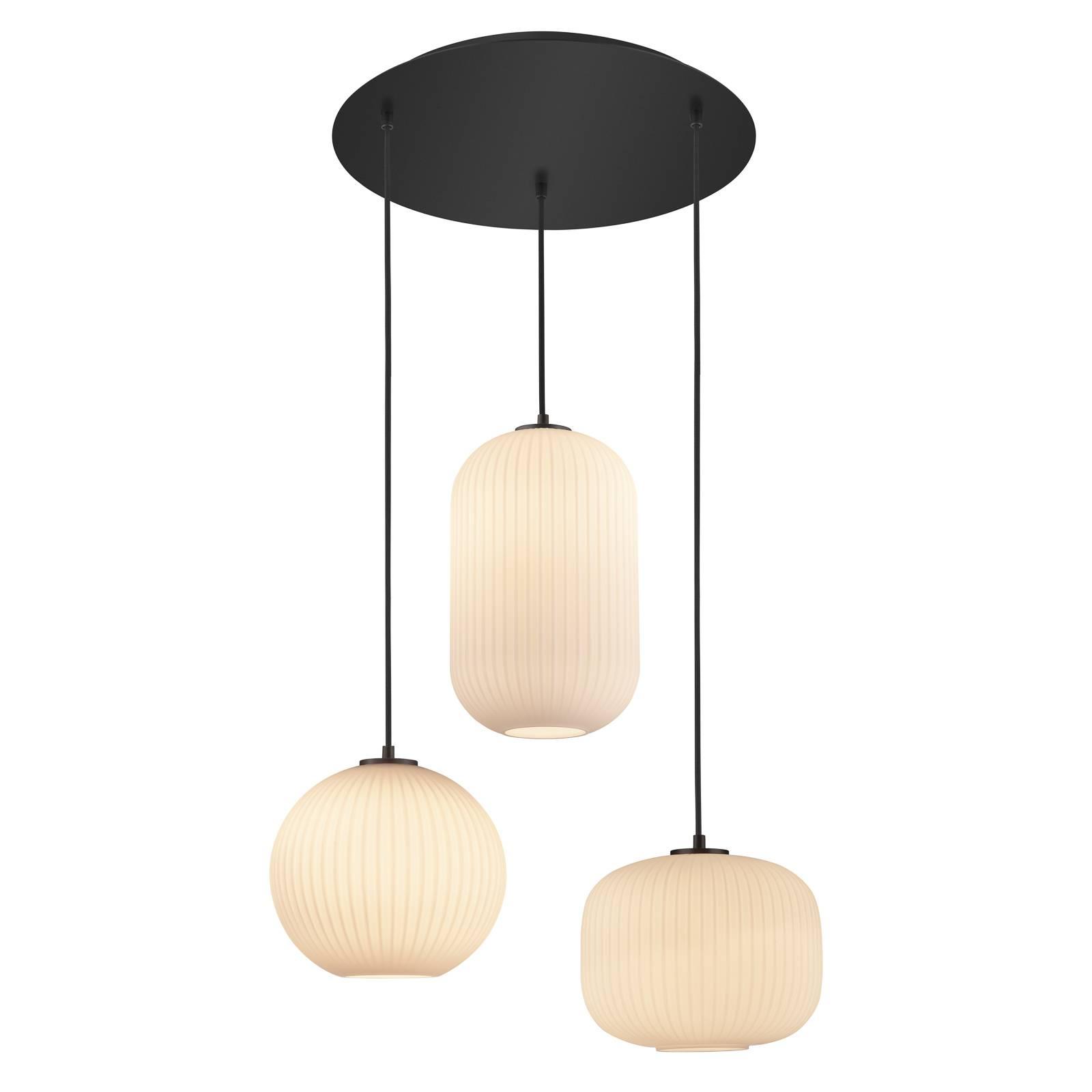 B-Leuchten Loft riippuvalaisin pyöreä 3-lamppuinen