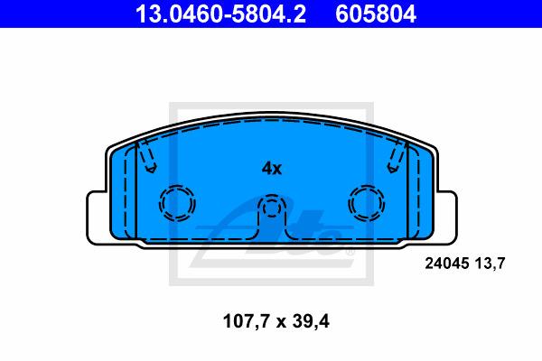 Jarrupalasarja, levyjarru ATE 13.0460-5804.2