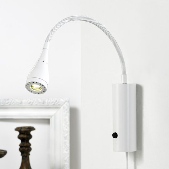 LED-seinävalaisin Mento, joustava varsi, valkoinen