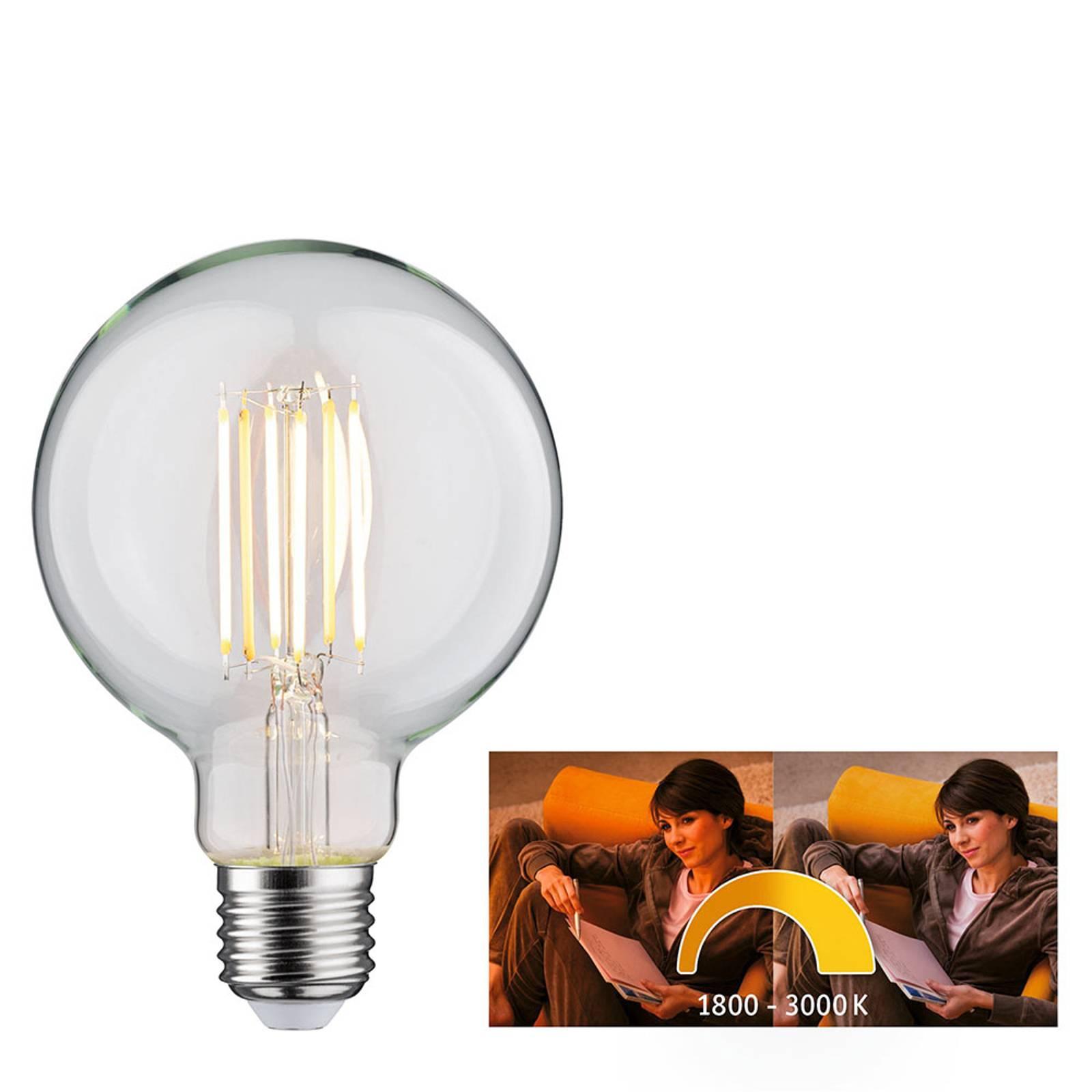 Paulmann-LED-globe-lamppu E27 7W dim to warm