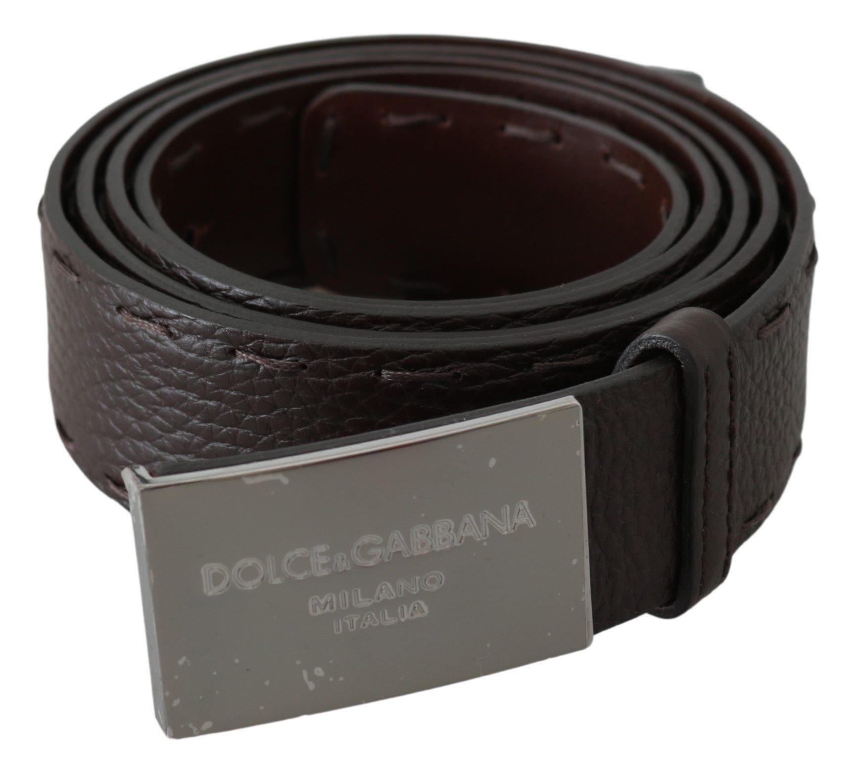 Dolce & Gabbana Men's Pattern Leather DG Logo Buckle Belt Brown BEL60672 - 100 cm / 40 Inches