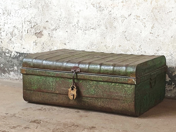 Old Travelling Trunk Green