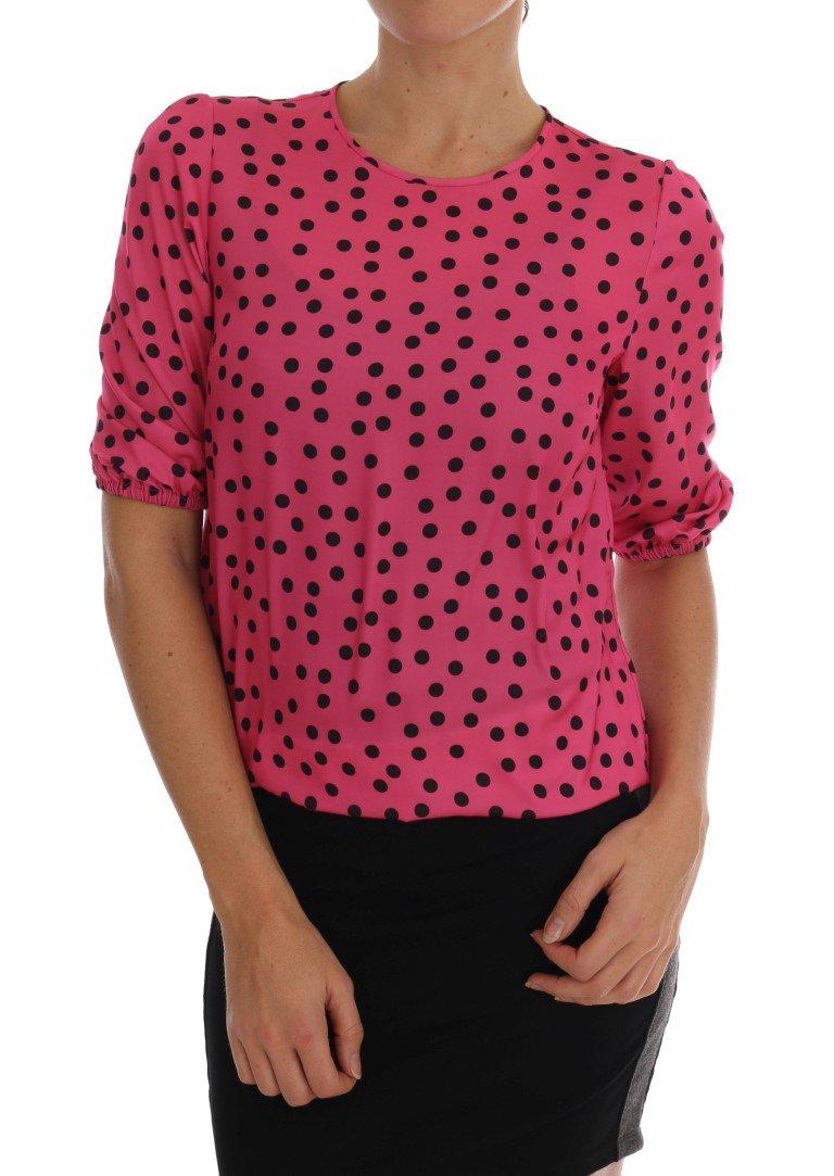 Dolce & Gabbana Women's Polka Dotted Top Pink TSH1639 - IT36   XS
