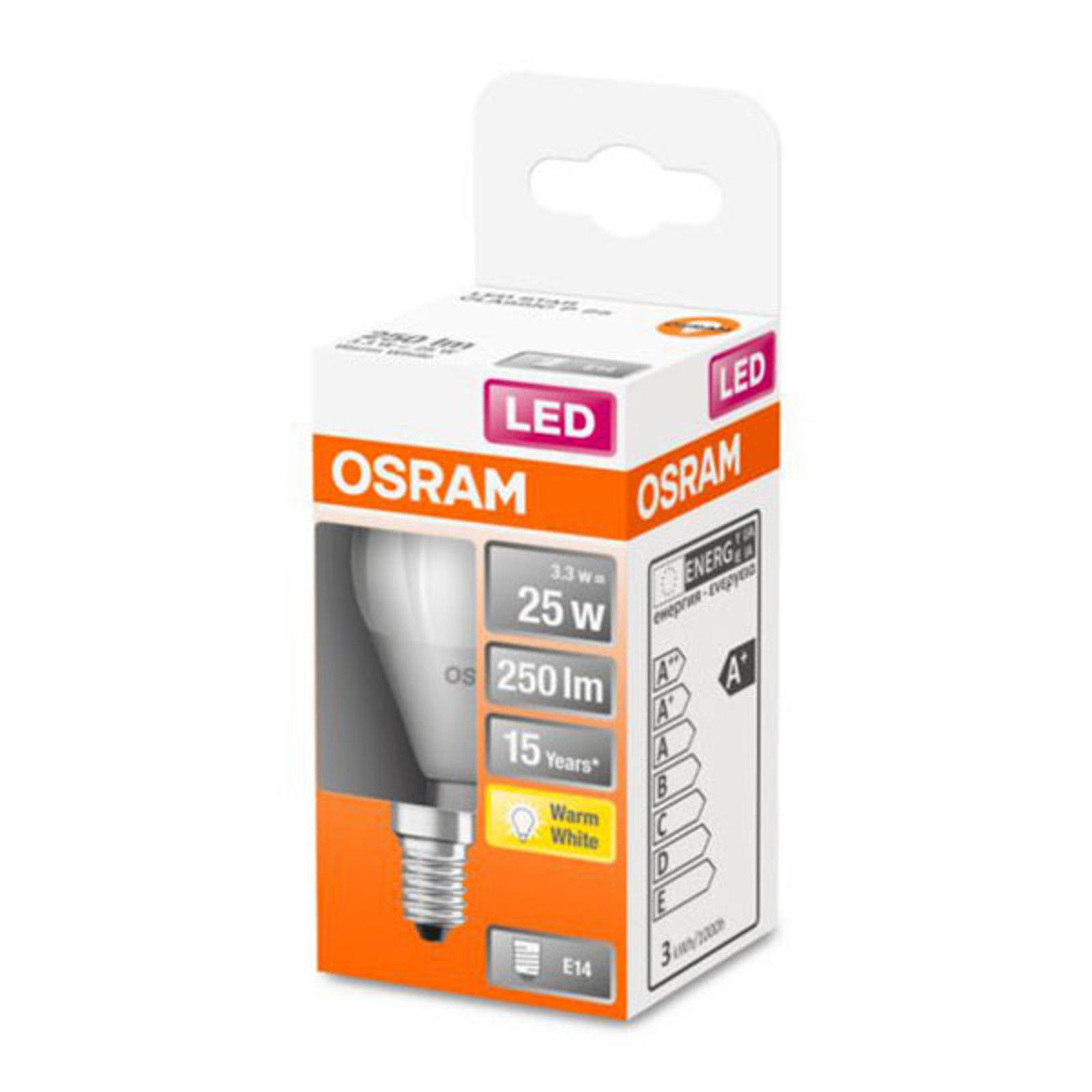 OSRAM Classic P -LED-lamppu E14 3,3W 2 700 K matta