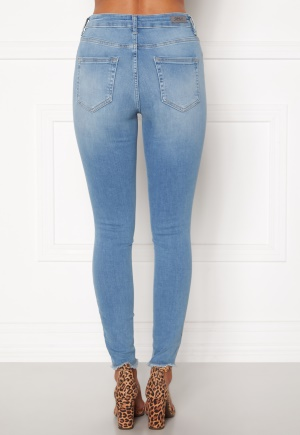 ONLY Blush Life Mid Raw Jeans Light Blue Denim L/30