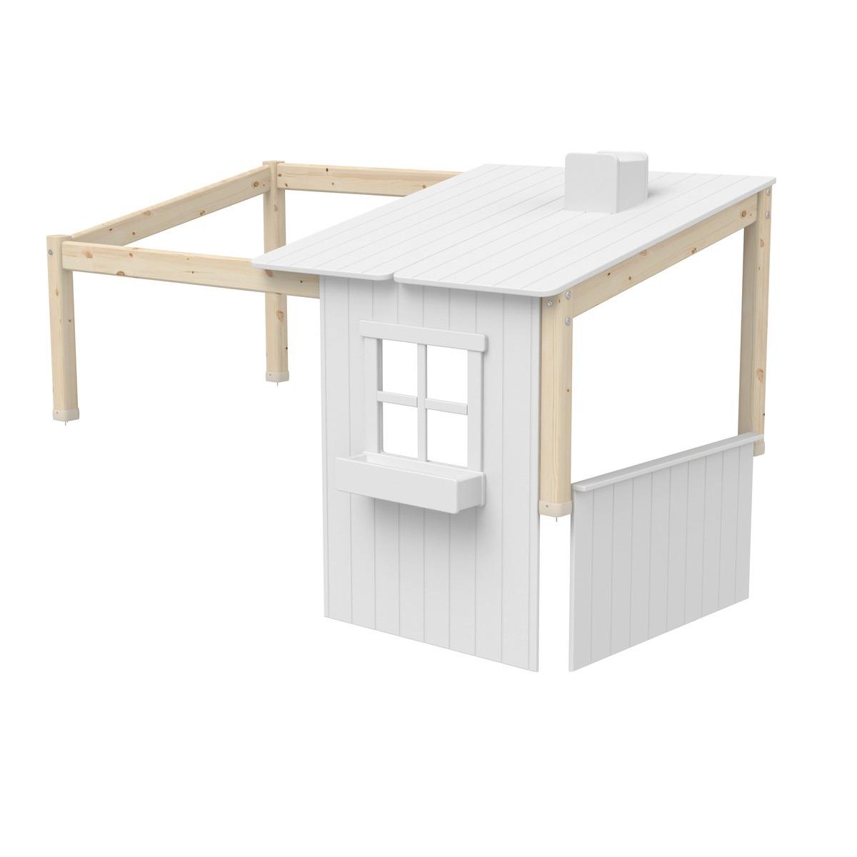 Sänghus halvt CLASSIC 200 cm vit/ klarlack, Flexa
