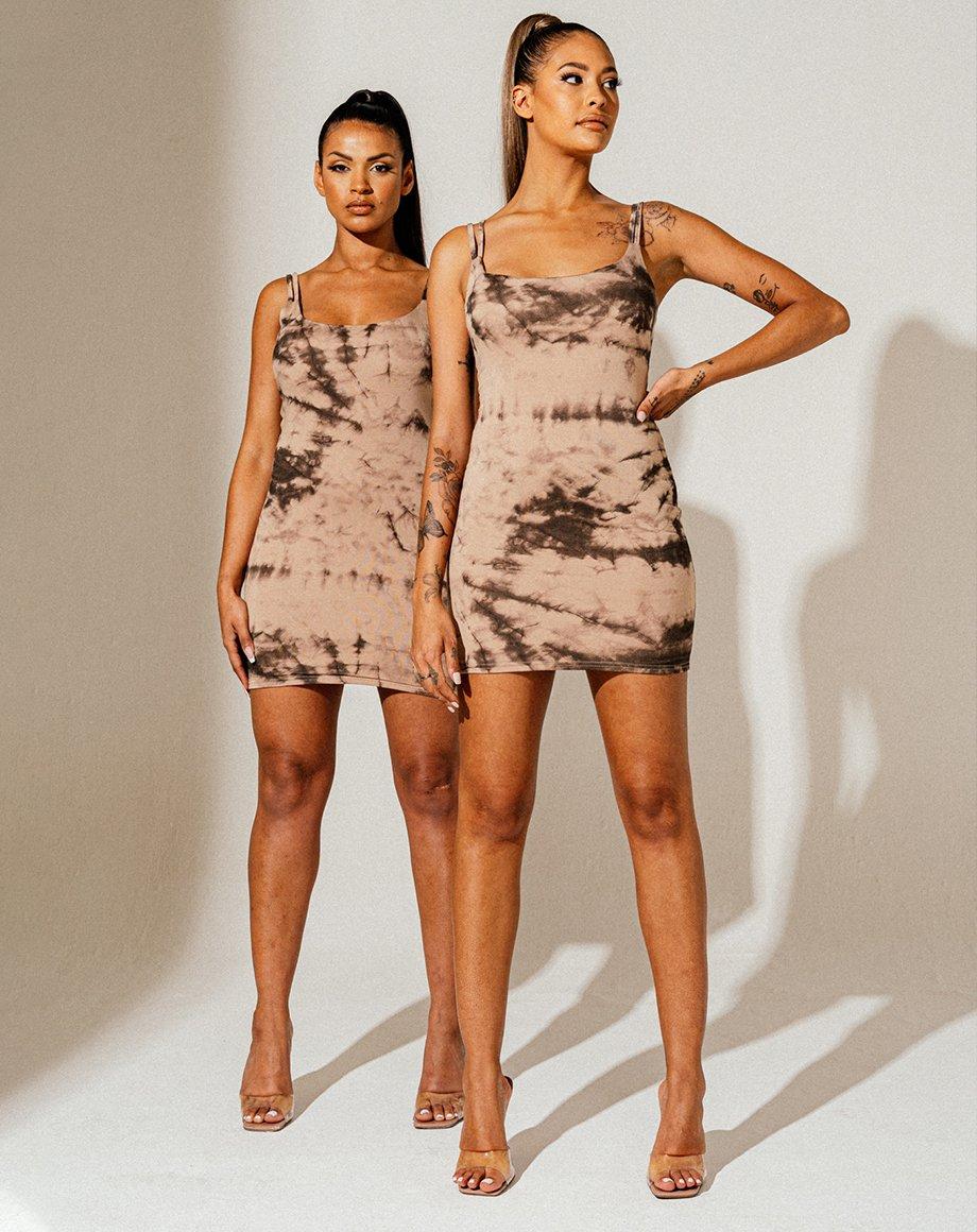 Pattern Double Strap Tie-Dye Cami Dress - Stone / 6