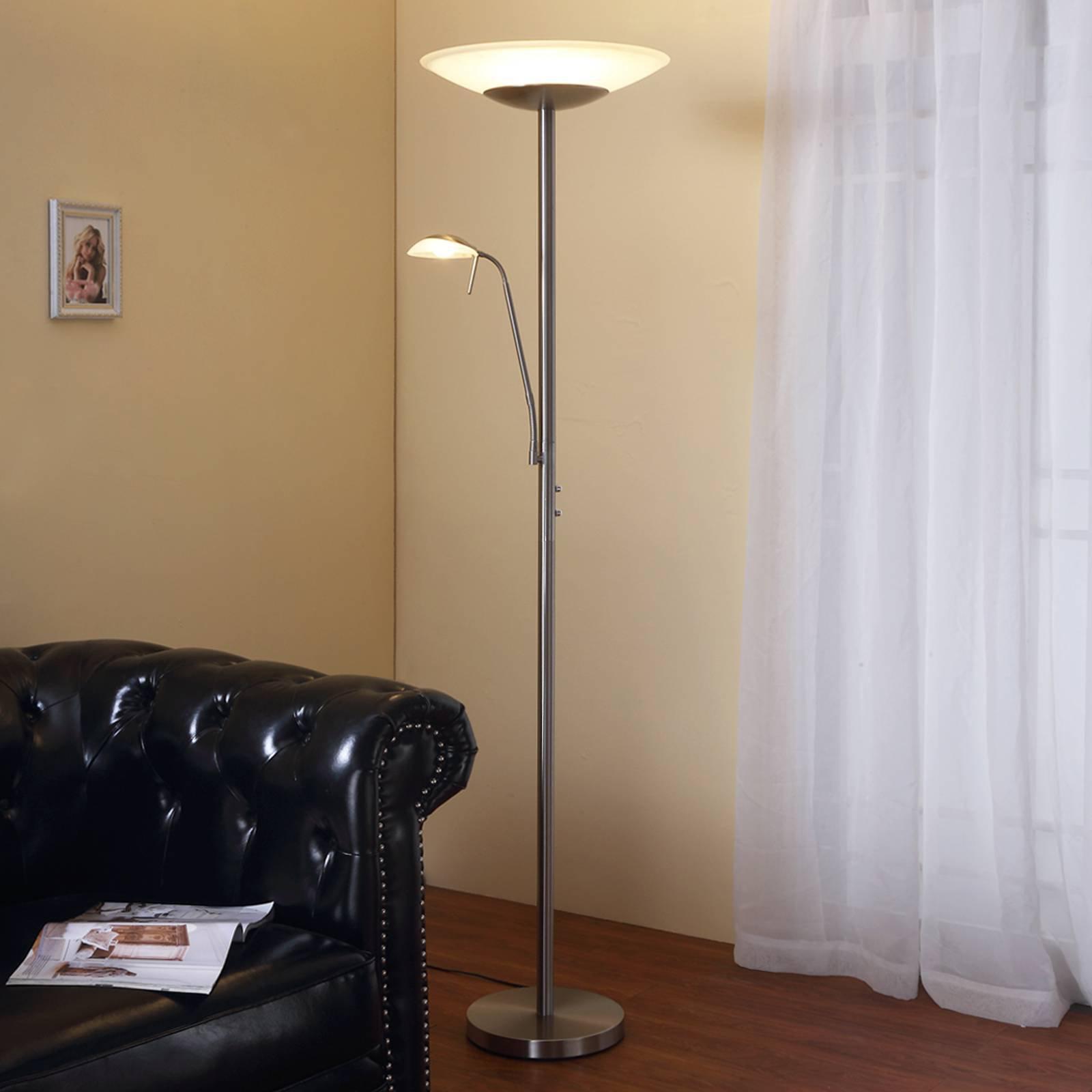 LED-uplight Ragna med leselampe, matt nikkel