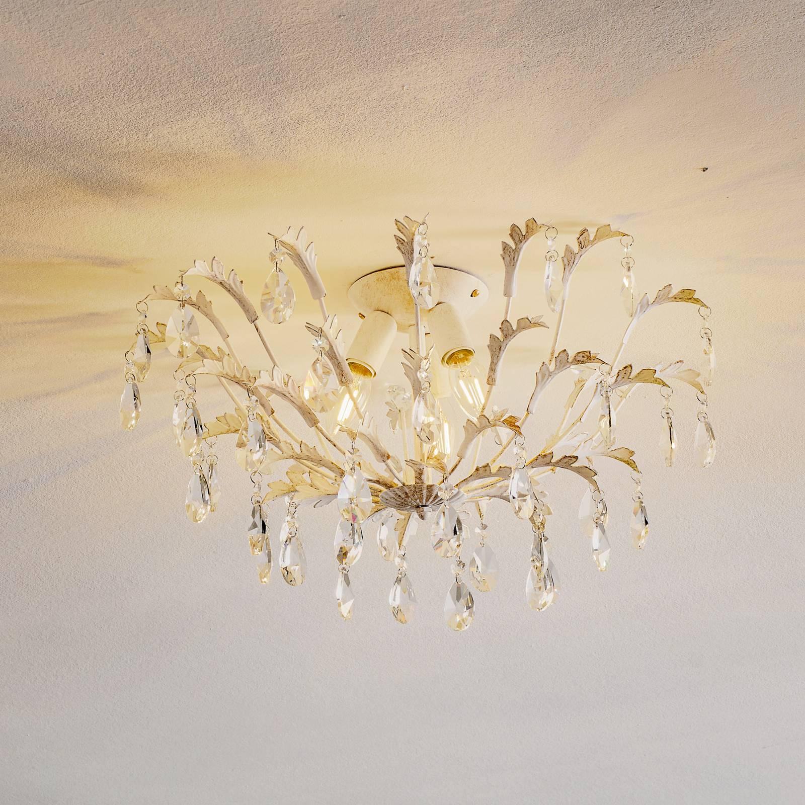 Kattovalaisin Cesta, 3-lamppuinen, kristalleja