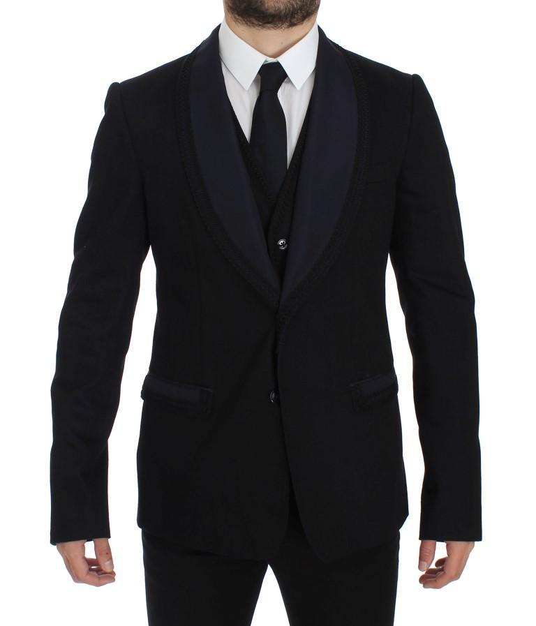 Dolce & Gabbana Men's Silk Slim Fit Blazer Black GTT10093 - IT52   XL